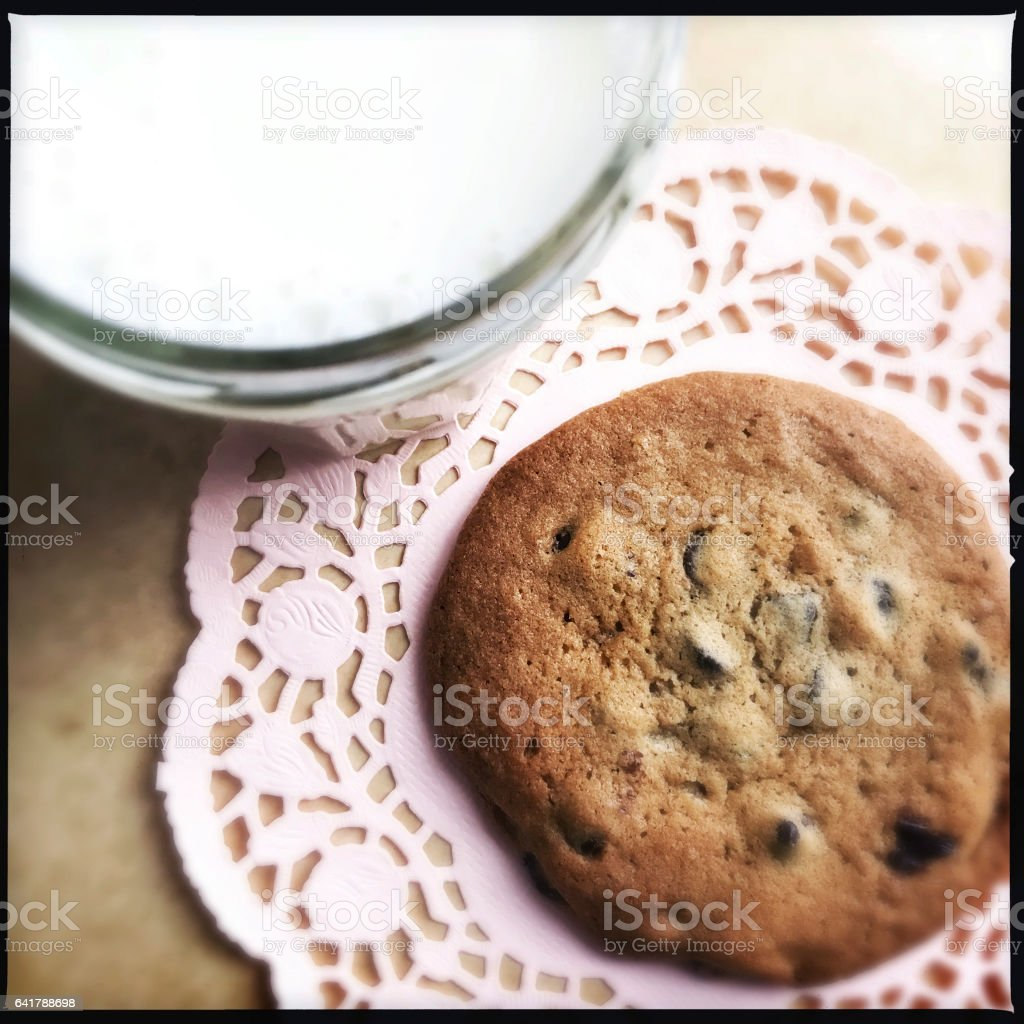 Chocolate Chip Cookie and Glass of Milk stock photo