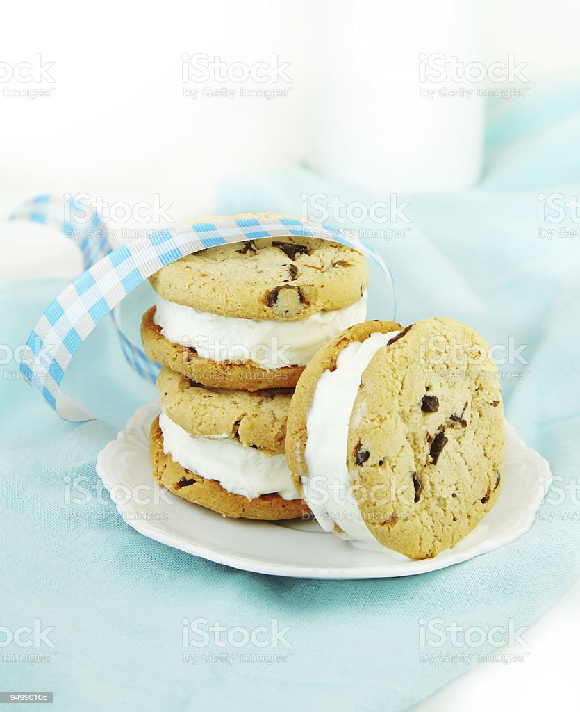 Chocolate Chip Cookie and Ice Cream Sandwiches royalty-free stock photo