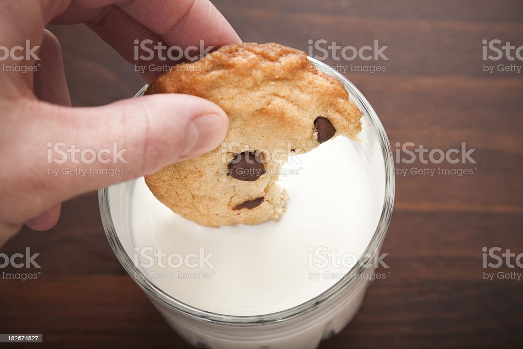 chocolate chip cookie and milk stock photo