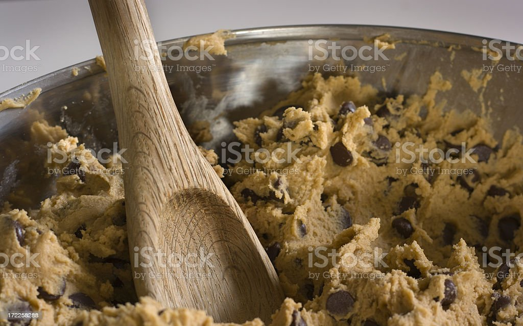 Chocolate Chip Cookie Dough in Bowl royalty-free stock photo