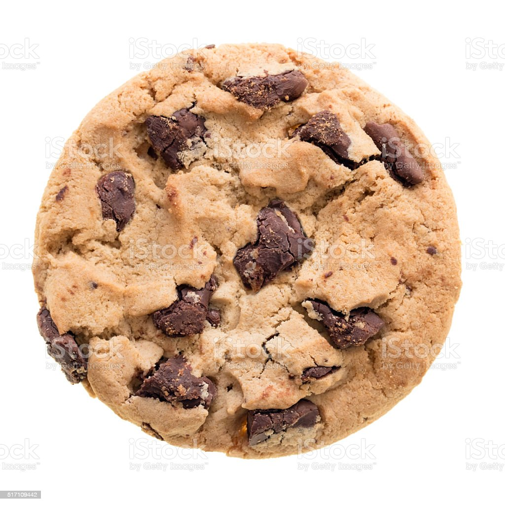 Chocolate chip cookie isolated stock photo