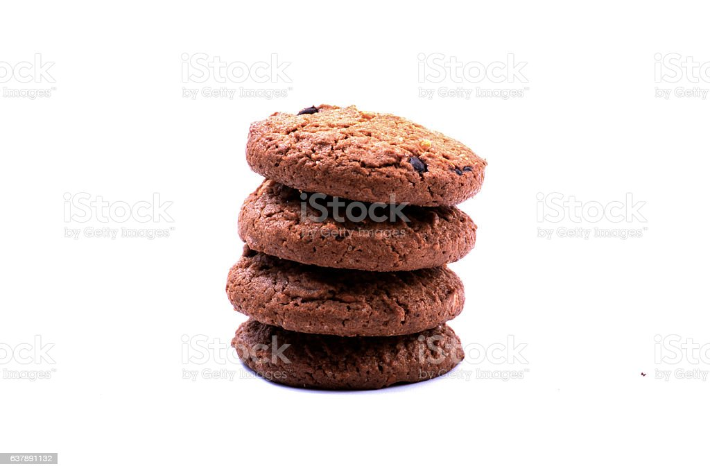 Chocolate chip cookie on white stock photo