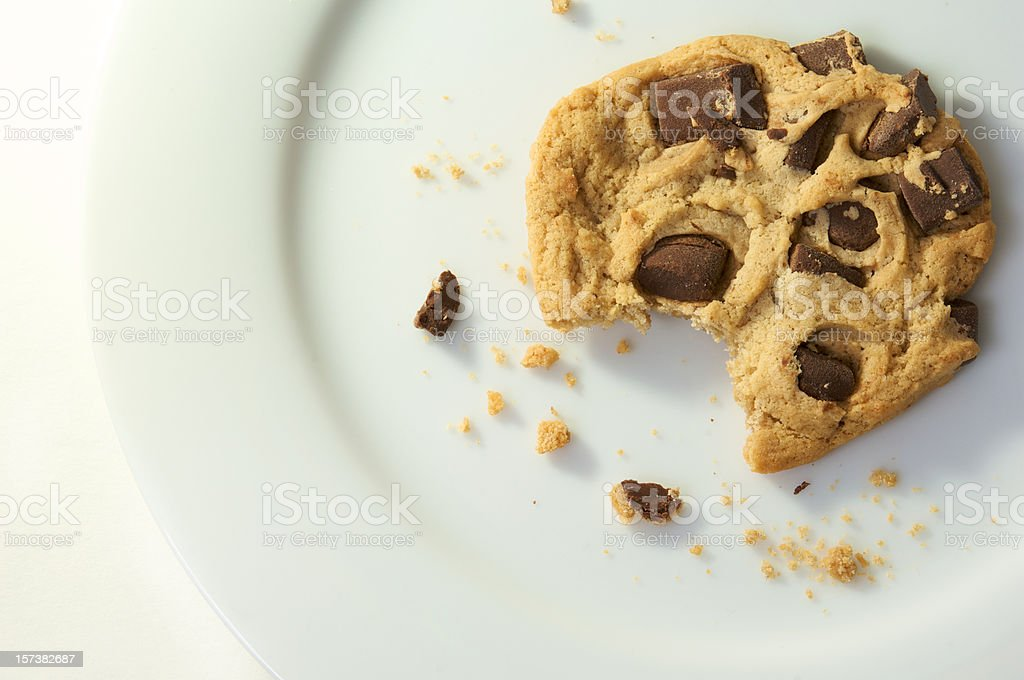 Chocolate Chip Cookie With A Bite Taken Out Of It stock photo