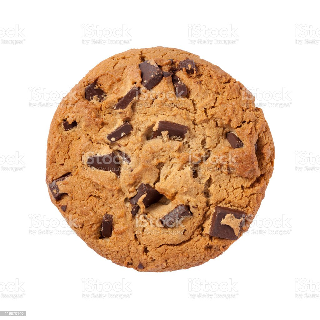Chocolate Chip Cookie with a clipping path stock photo