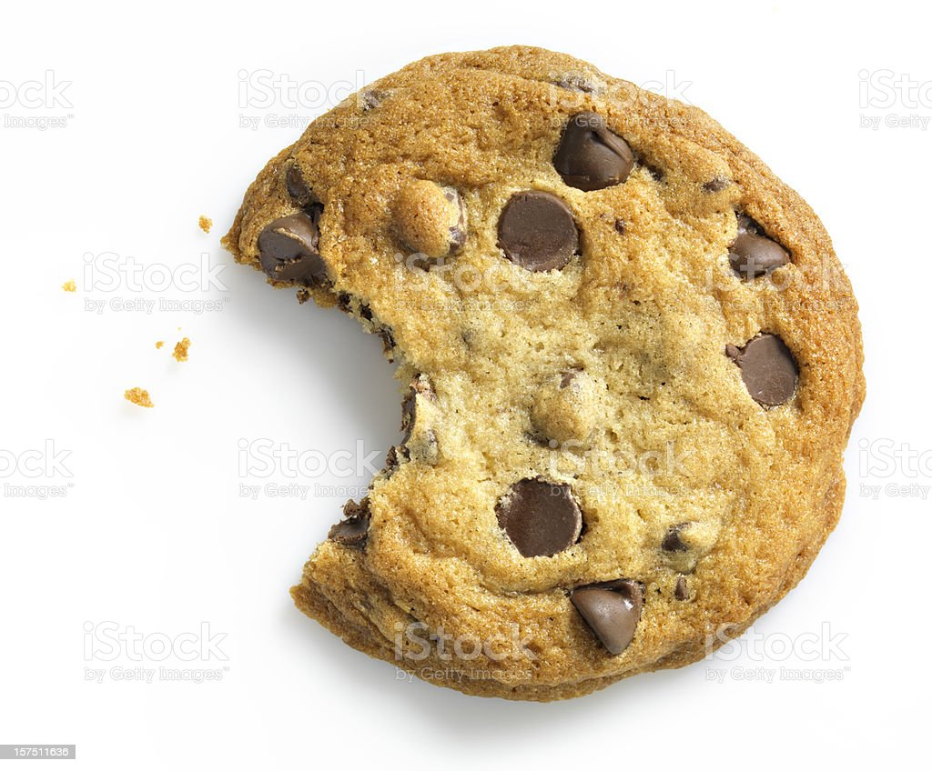 Chocolate Chip Cookie with bite on white stock photo