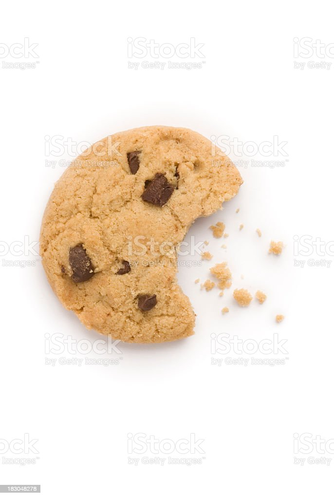 Chocolate chip cookie with crumbs stock photo