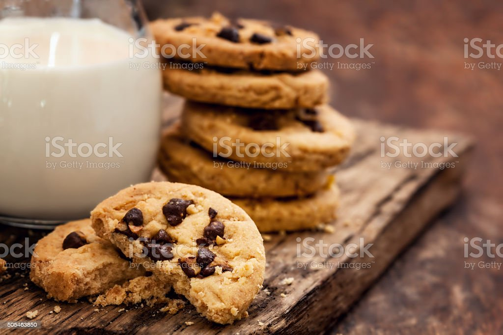 Chocolate Chip Cookie with milk bottle stock photo
