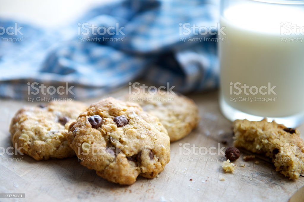 Chocolate Chip Cookies and a Glass of Milk stock photo