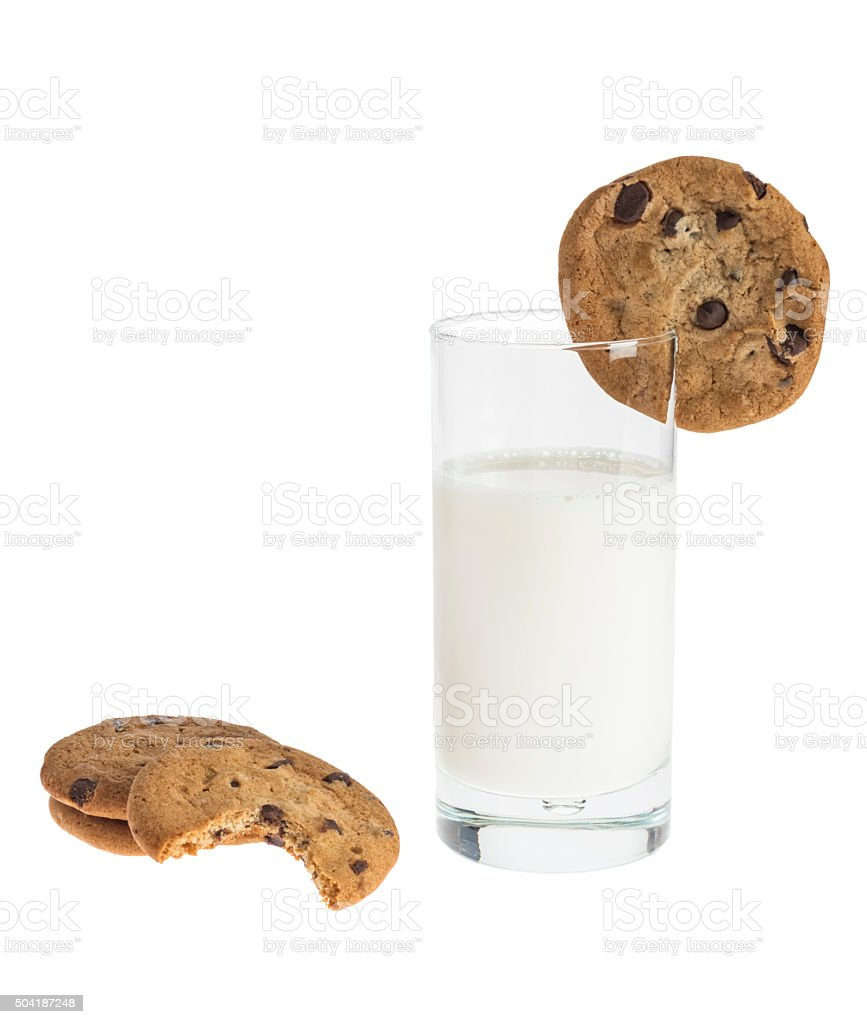 Chocolate Chip Cookies and a tall glass of milk stock photo