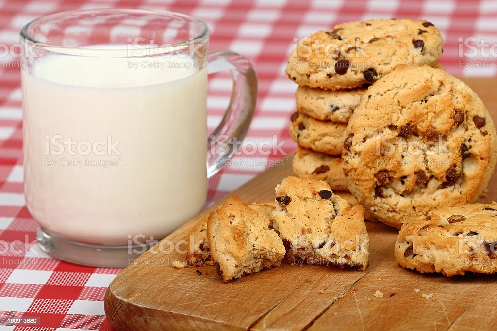 Chocolate Chip Cookies and Milk royalty-free stock photo
