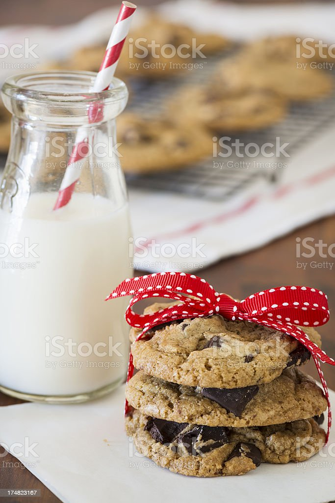 Chocolate Chip Cookies and Milk Vertical royalty-free stock photo