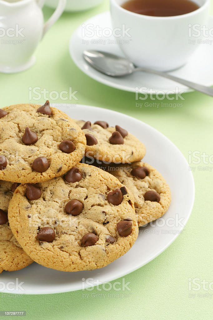 Chocolate Chip Cookies and Tea stock photo