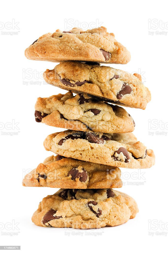 Chocolate Chip Cookies Dessert Treat Stack Cut Out on White royalty-free stock photo