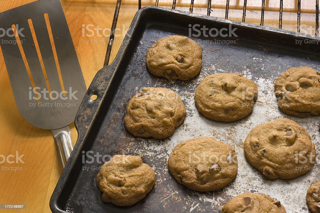 Chocolate Chip Cookies in Baking Sheet royalty-free stock photo