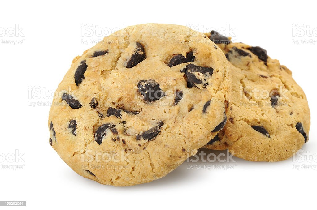 chocolate chip cookies isolated on a white background. royalty-free stock photo