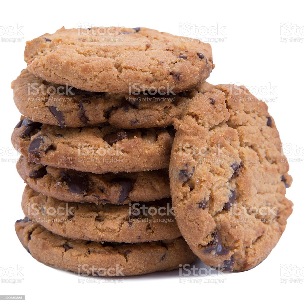 chocolate chip cookies isolated on white background stock photo