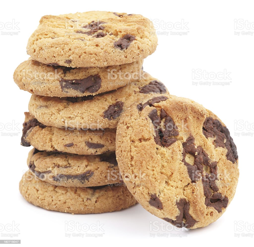 Chocolate chip cookies isolated on white royalty-free stock photo
