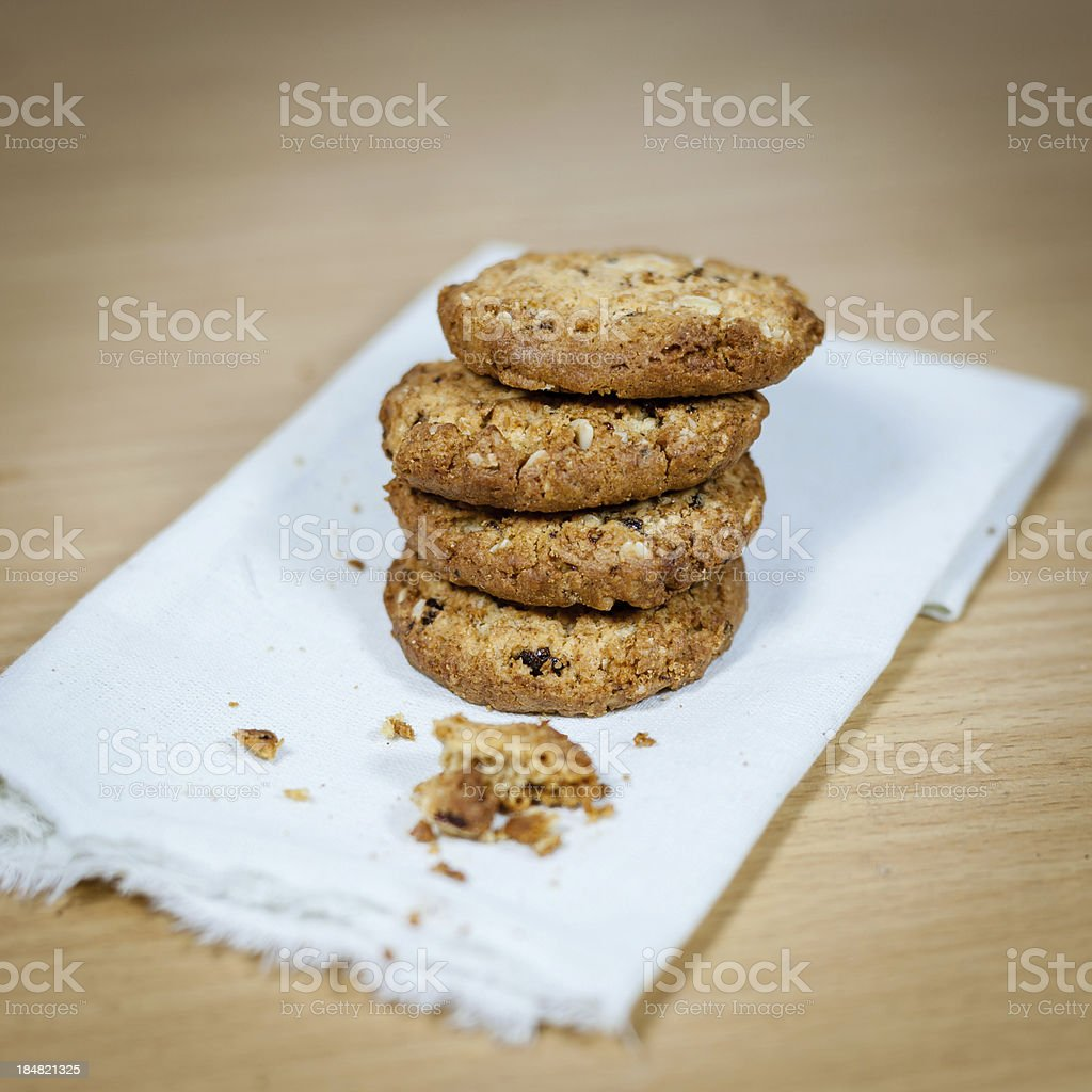 chocolate chip cookies on fabric royalty-free stock photo