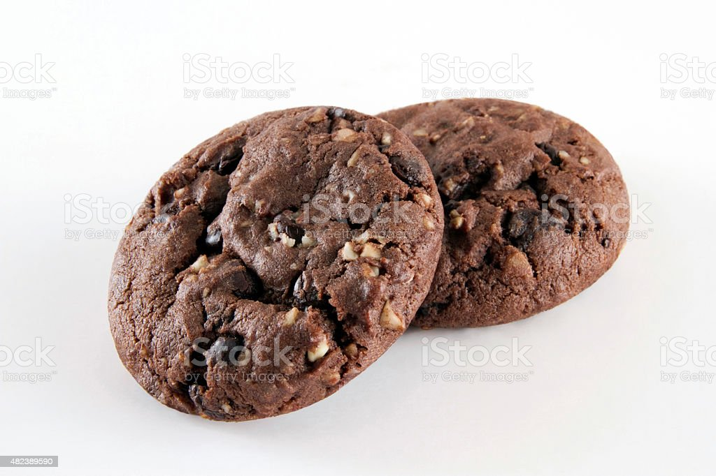 Chocolate Chip Cookies on White Background stock photo