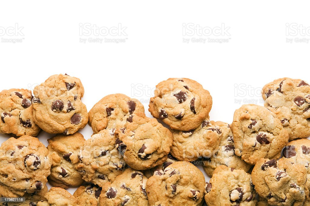 Chocolate Chip Cookies Stack, Frame Border of Fresh Baked Dessert stock photo