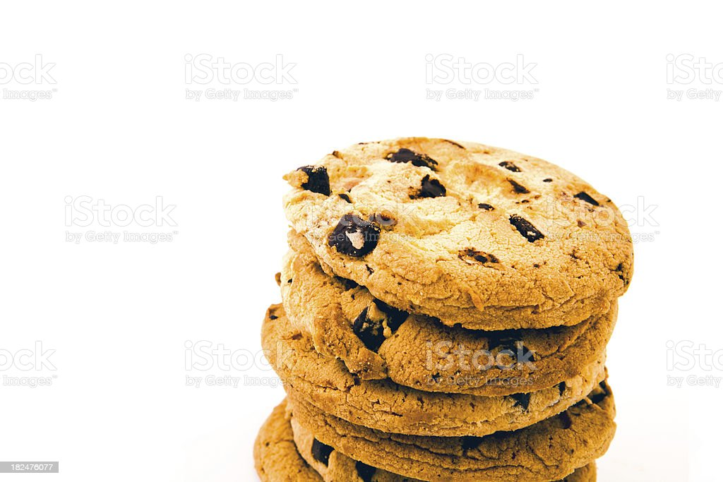 chocolate chip cookies tower stock photo