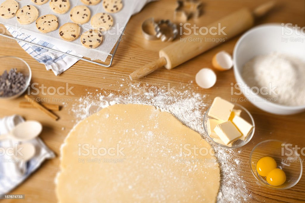 Chocolate chip cookies with ingredients. stock photo