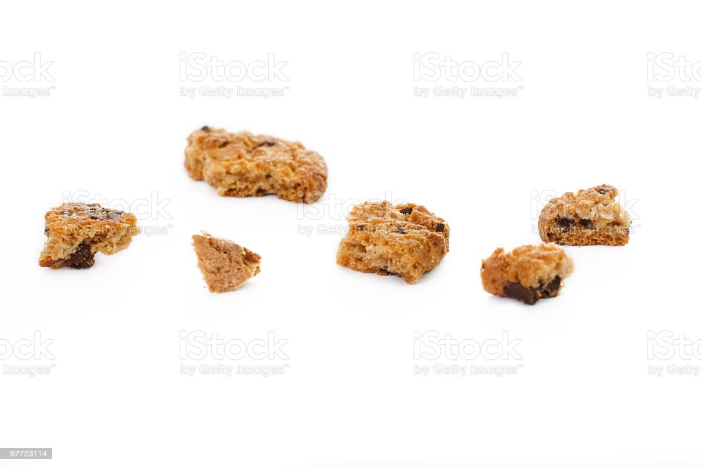 Chocolate Chip Crumbs over White royalty-free stock photo