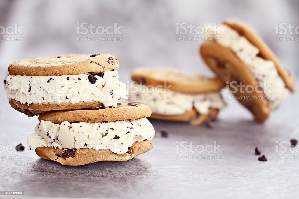 Chocolate Chip Ice Cream Cookie Sandwiches stock photo