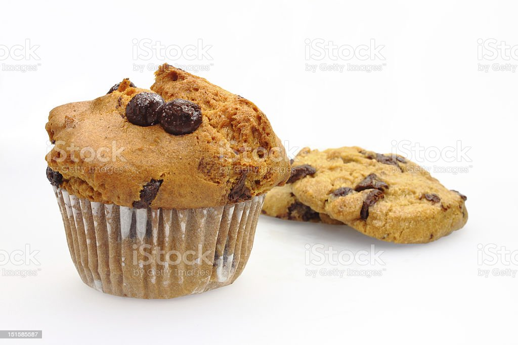 chocolate chip muffin and cookies royalty-free stock photo