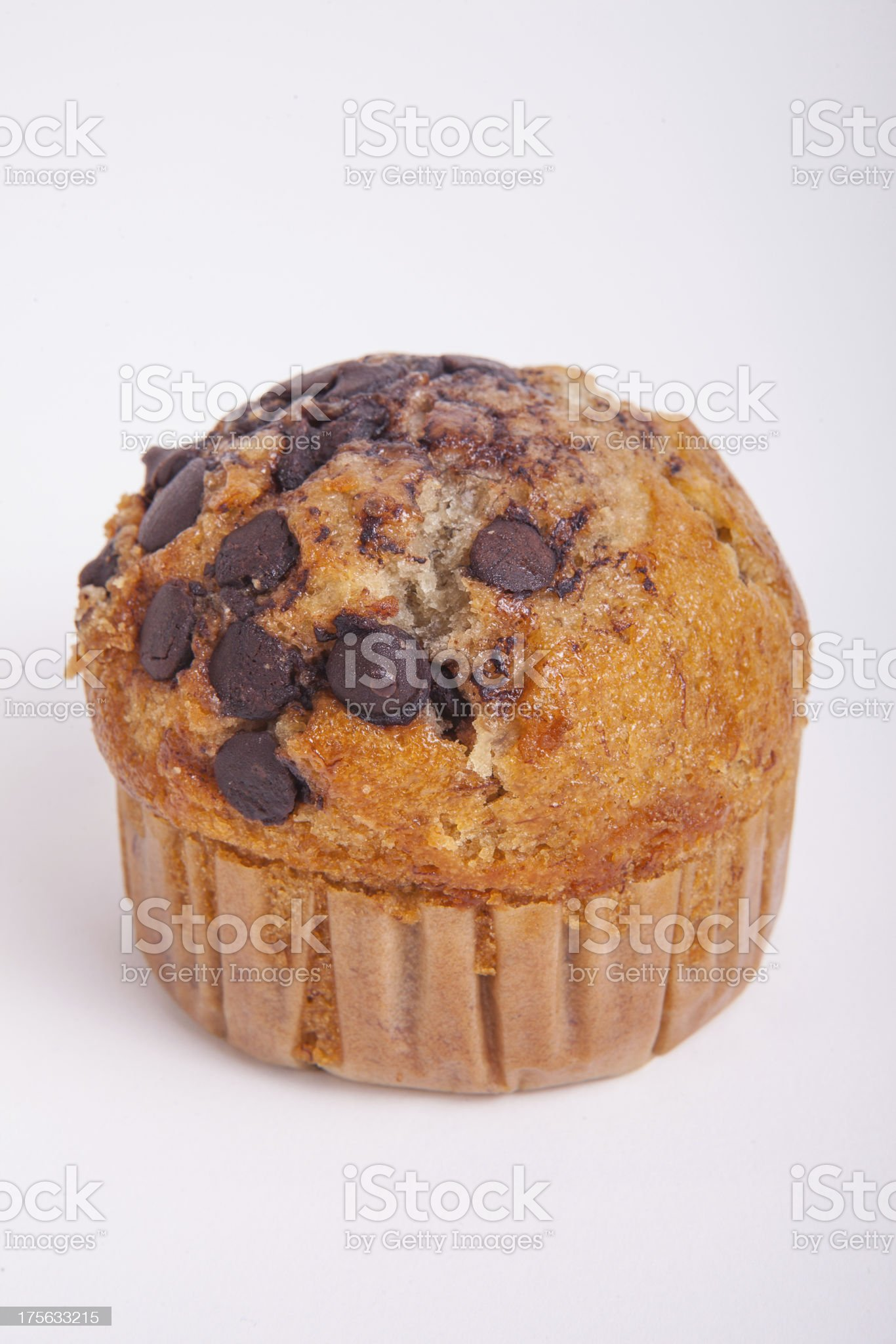 Chocolate chip muffin isolated royalty-free stock photo
