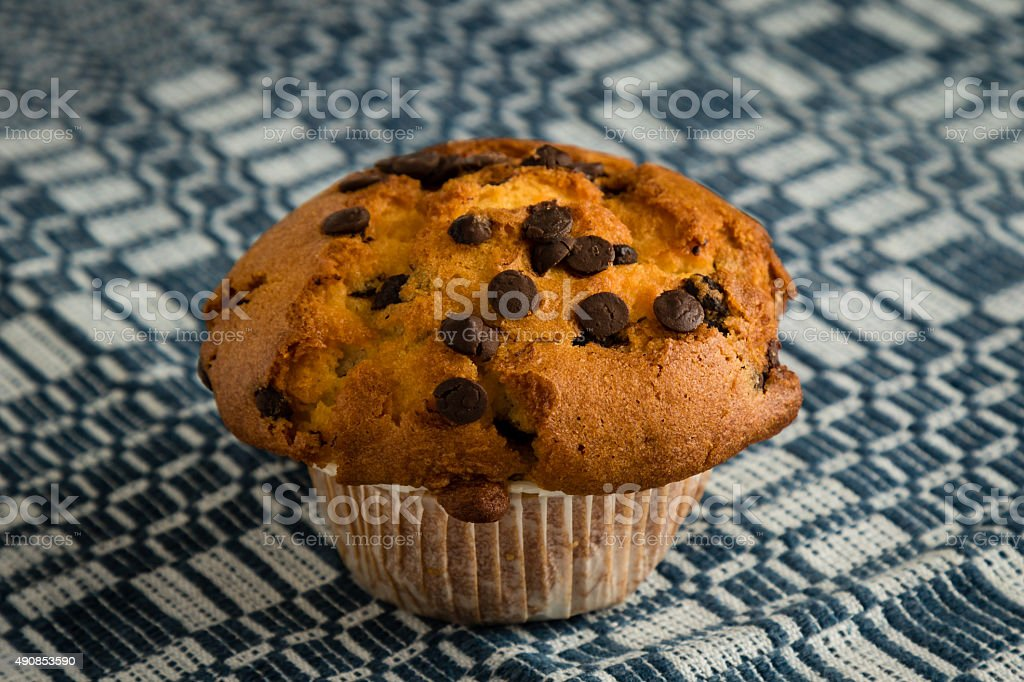chocolate chip muffin on tablecloth stock photo