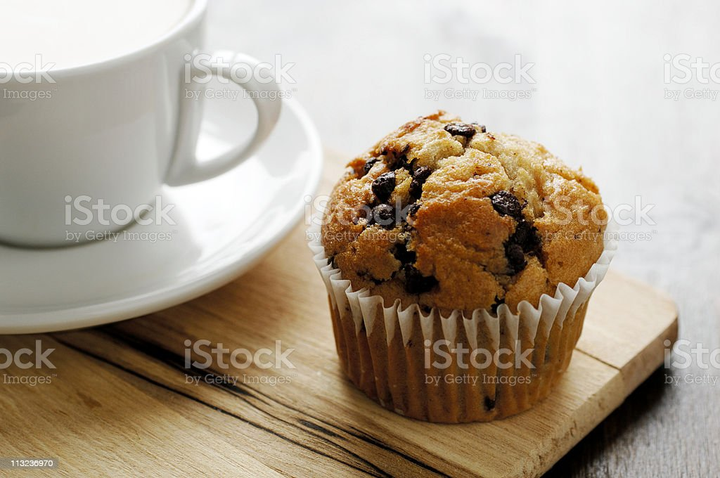 chocolate chip muffin with coffee royalty-free stock photo