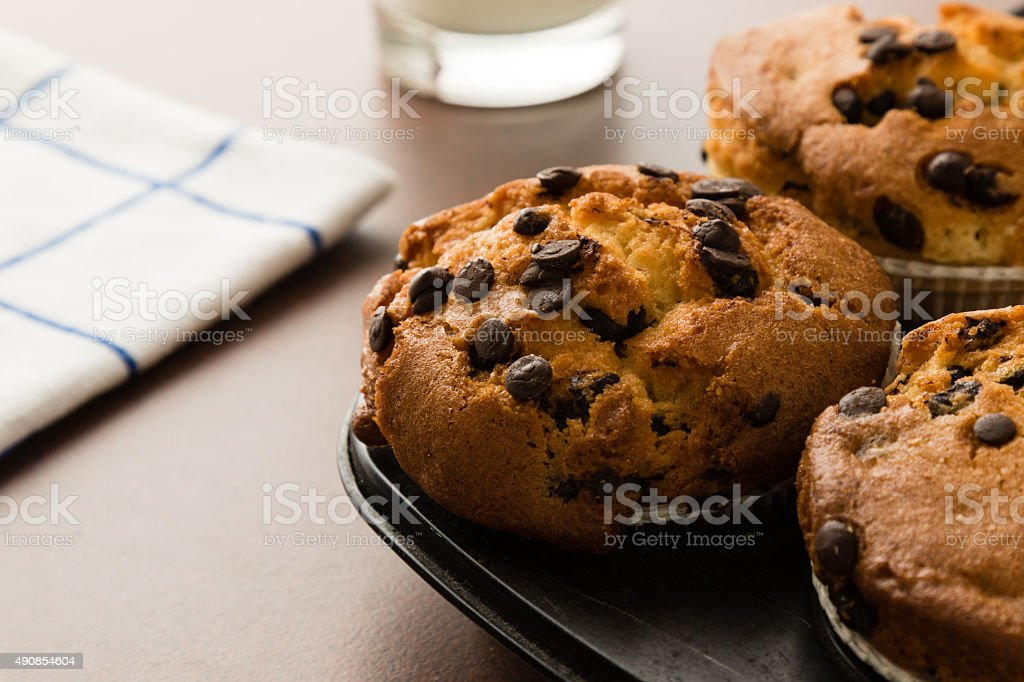 chocolate chip muffins in pan stock photo