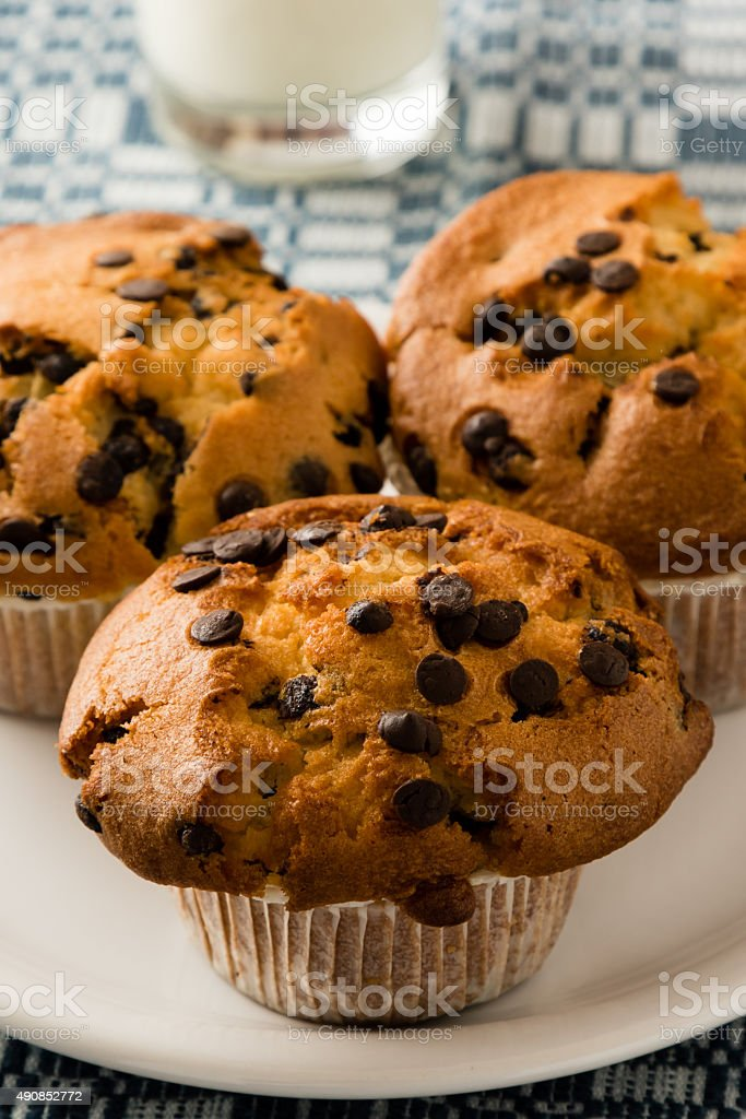 chocolate chip muffins on plate stock photo
