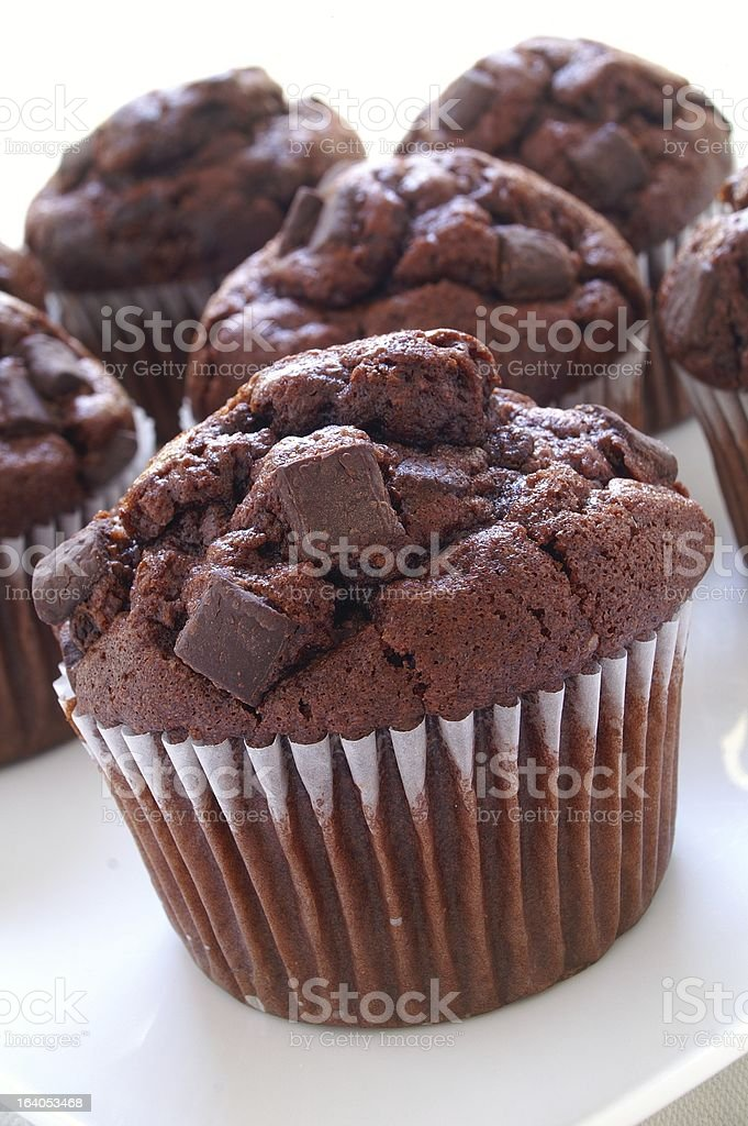 chocolate chip muffins on white platter royalty-free stock photo