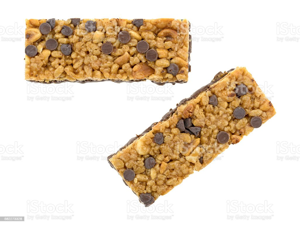 Chocolate chip peanut protein bars on a white background stock photo