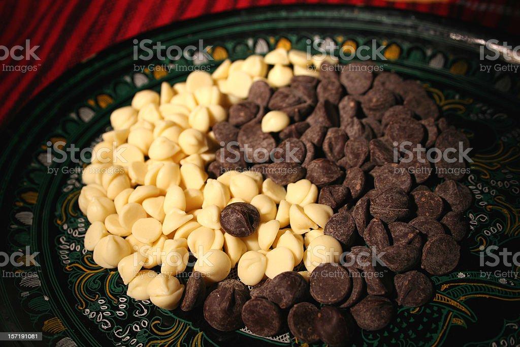 Chocolate chip ying yang symbol stock photo