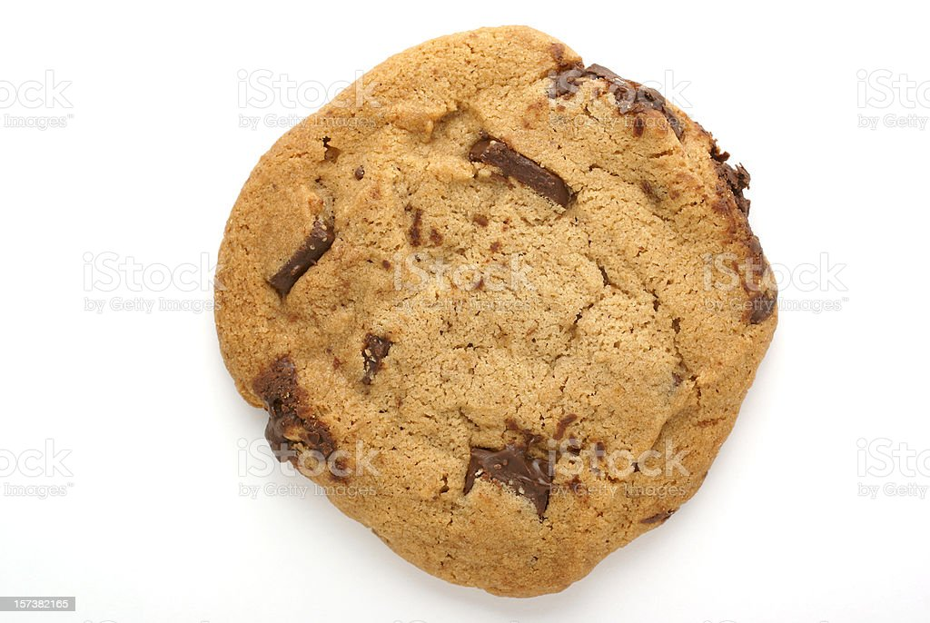 Chocolate chip-chunk cookie against a white background royalty-free stock photo
