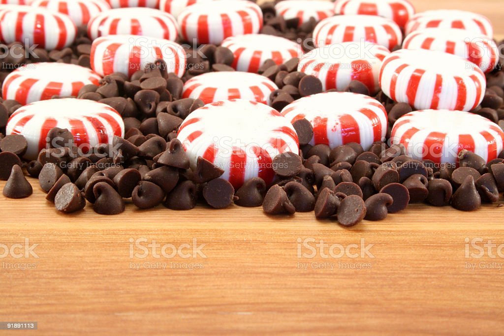 Chocolate Chips and Peppermints royalty-free stock photo