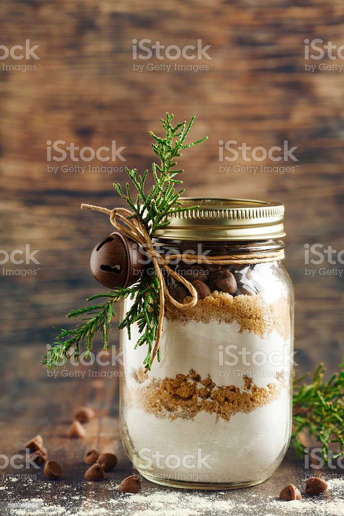Chocolate chips cookie mix for Christmas gift stock photo