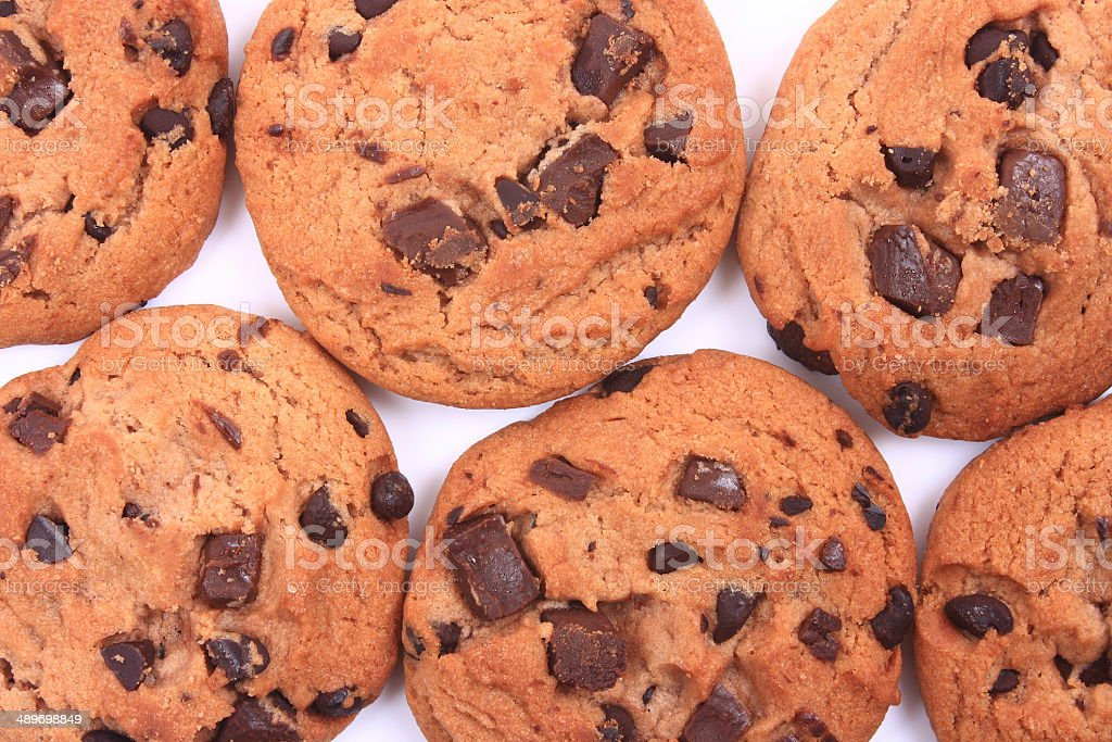 Chocolate chips cookies isolated on white stock photo