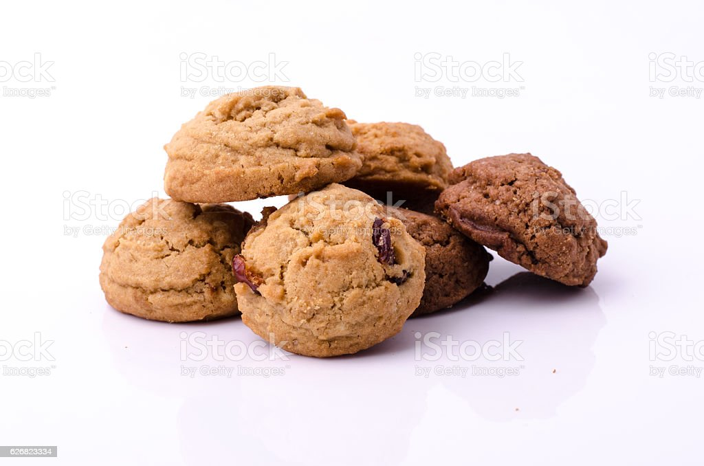 chocolate chips cookies on white bacjground stock photo
