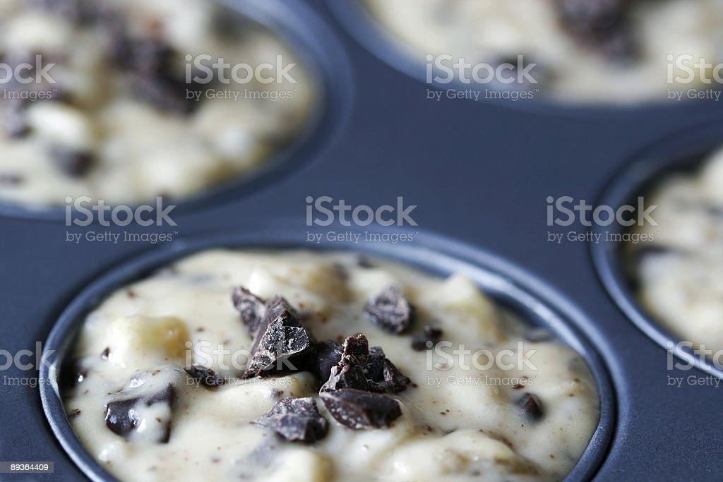 Chocolate chips muffins stock photo