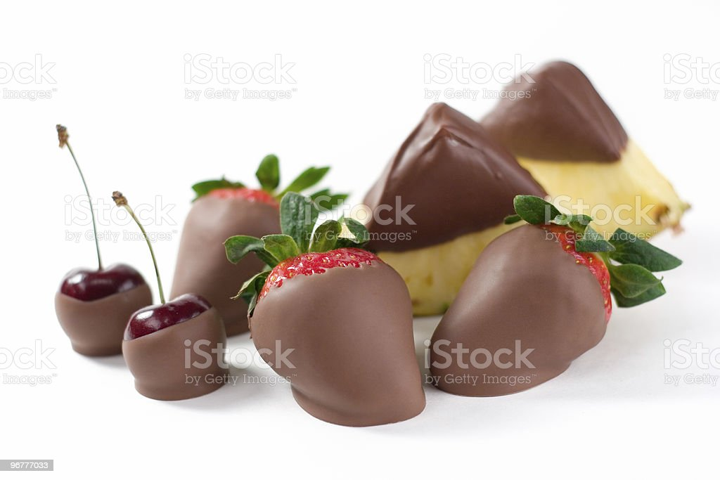 Chocolate Clad Fruits stock photo