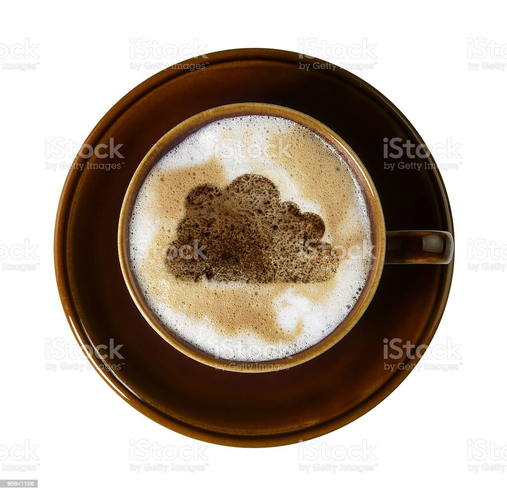 chocolate cloud milk froth in brown cup stock photo