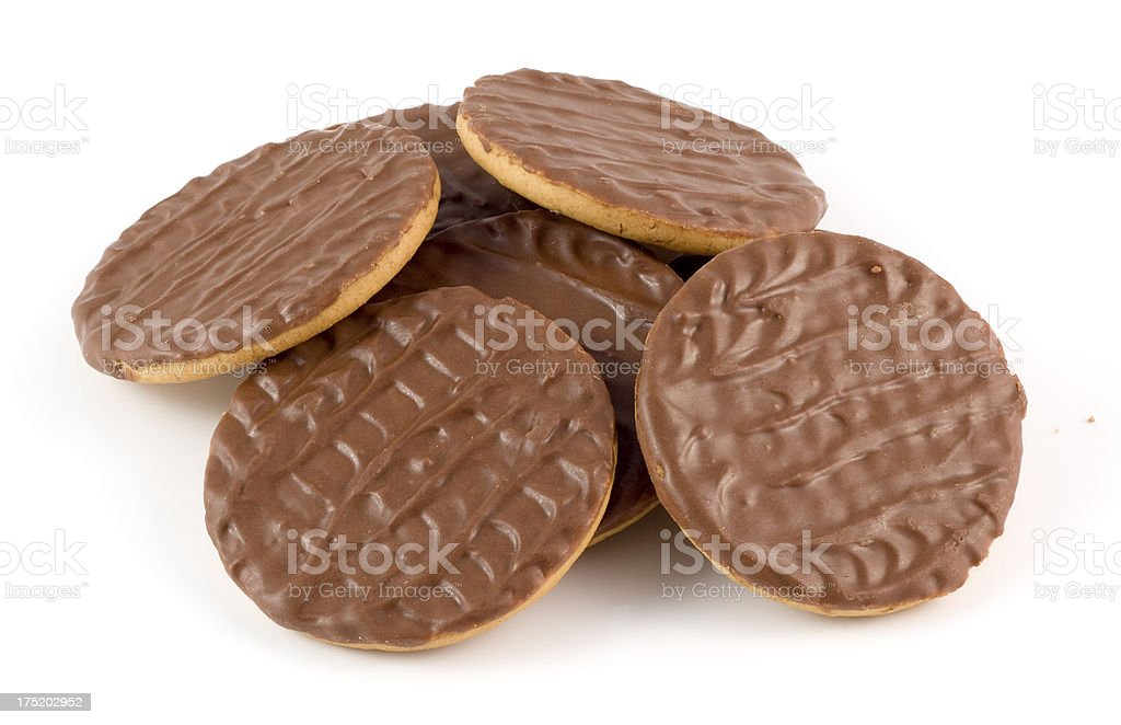 Chocolate coated biscuits stock photo