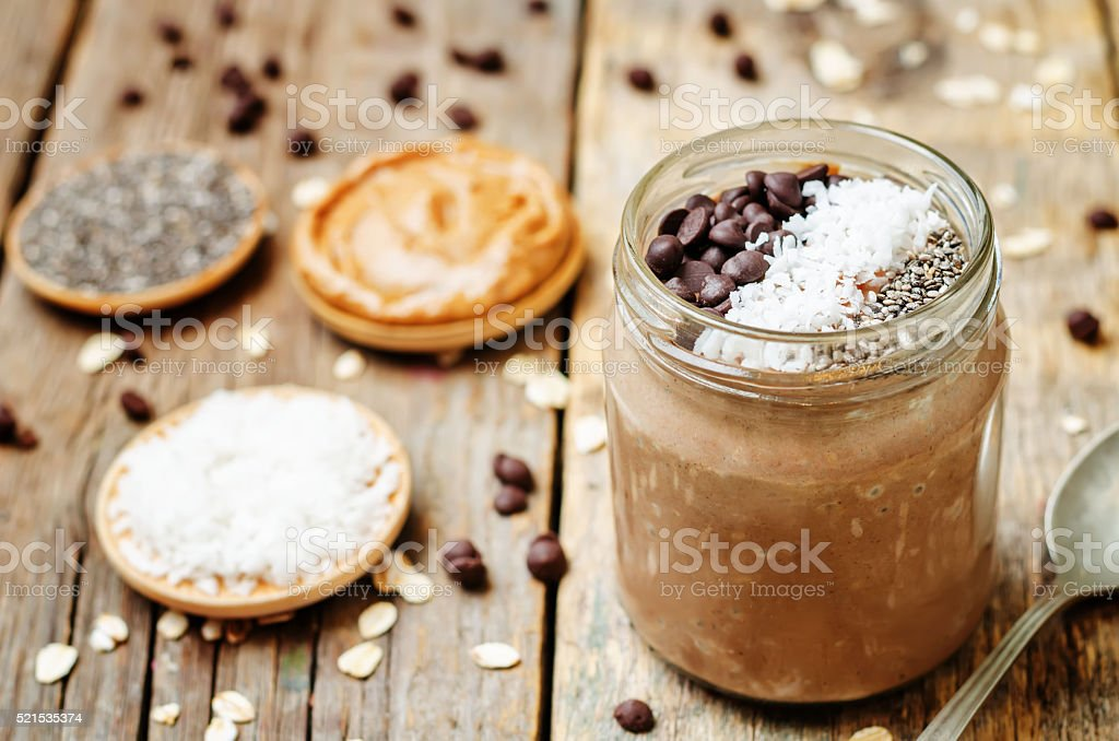Chocolate Coconut Chia seeds overnight oats stock photo