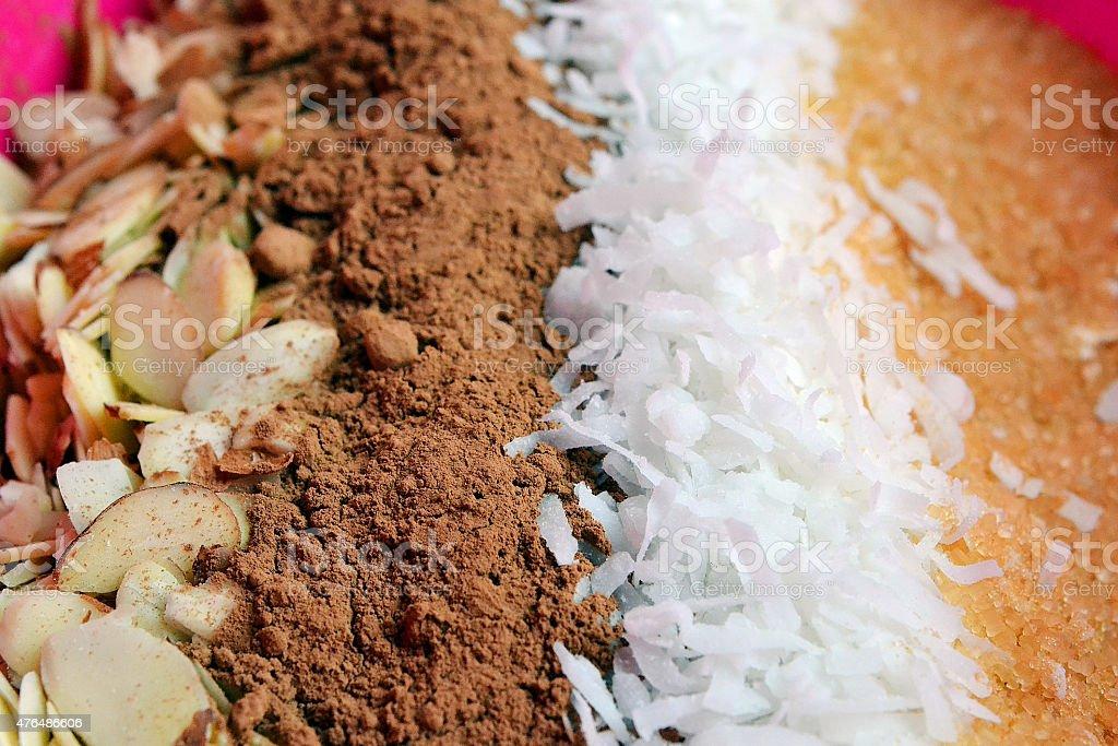 chocolate coconut granola stock photo