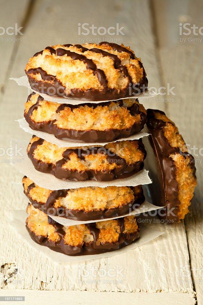 Chocolate coconut macaroons stock photo