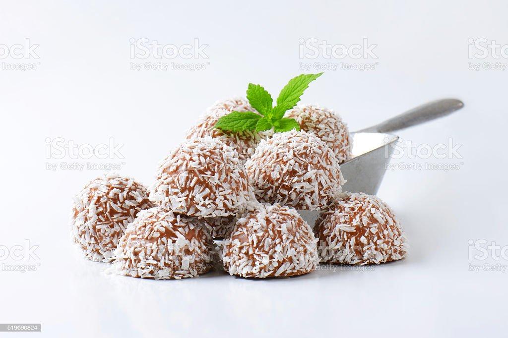 Chocolate coconut truffles stock photo